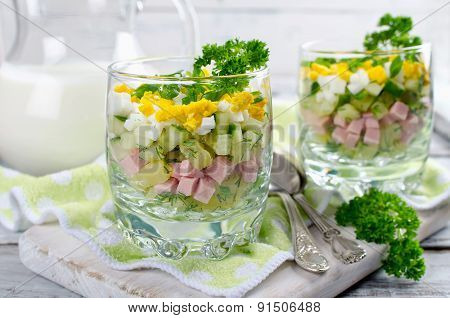 Russian Spring And Summer Cold Soup  With Kefir