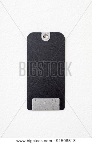 Black Empty Message Card On The White Wall