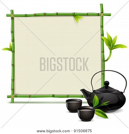 Vector Bamboo Frame With Tea
