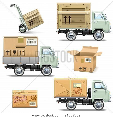 Vector Delivery Retro Light Truck