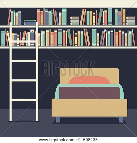 Flat Design Single Bed With Ladder On Bookshelves.