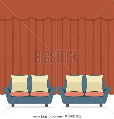 Empty Sofas In Front Of Curtain.