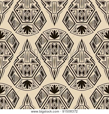 Seamless Antique Pattern Ornament. Geometric Background Vector Monochrome