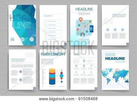 Templates. Design Set of Web, Mail, Brochures. Mobile, Technology, App and Infographic Concept. Mode