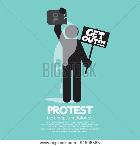 Protester Burning Himself With Oil Vector Illustration