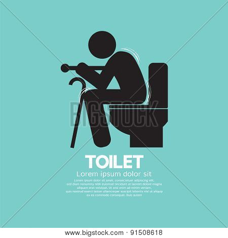 Elderly With Walking Stick Toilet Sign.