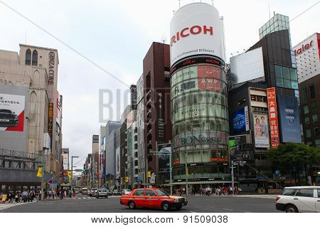 Main street of High end Ginza district, located in the heart of Tokyo