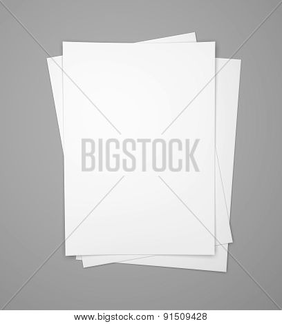 Three White Paper Sheets On Gray