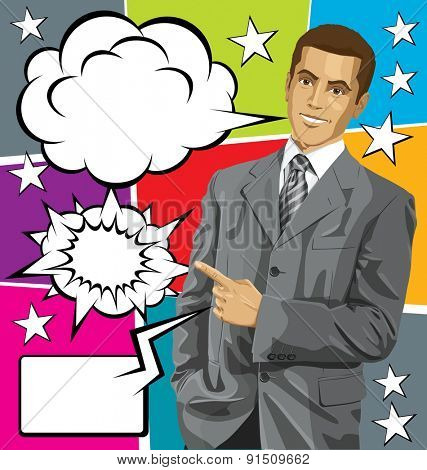 Idea concept. Vector business man show something with his finger, with speech and thought bubbles