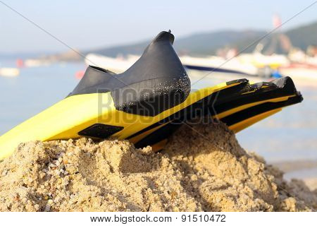 yellow and black colored flipper over the sands