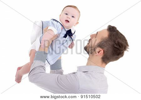 Happy Young Father Playing With Little Daughter Isolated On White