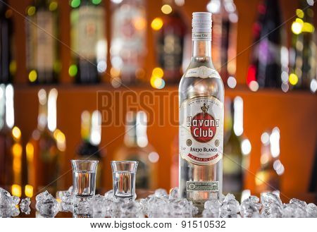 PRAGUE, CZ - APRIL 6, 2015: Bottle of Havana club rum. Established in 1878 in Santa Cruz del Norte in Cuba, Havana Club is the world's No.3 international rum brand