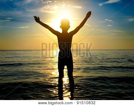 Kid Silhouette In The Sea
