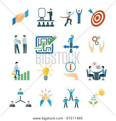 Mentoring Icons Flat Set