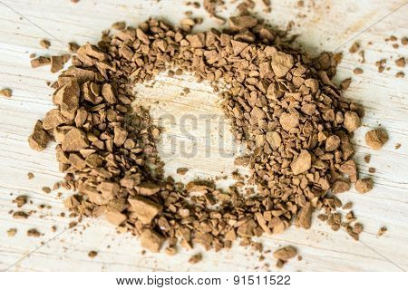 Instant Coffee On A Wooden Background