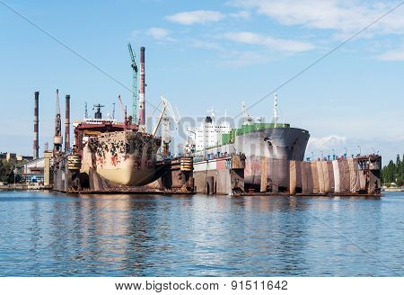 Two Ships In Ship Repair Yard