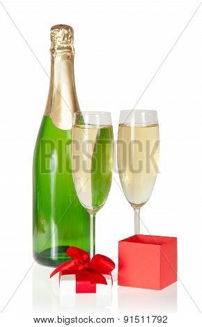 Champagne with small gift