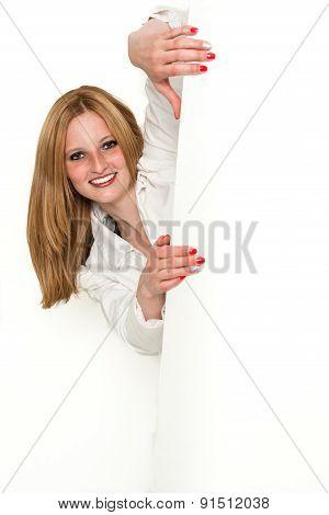 Young beauty business woman peeking around a corner 1