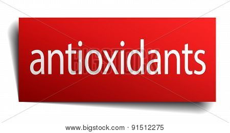 Antioxidants Red Paper Sign Isolated On White