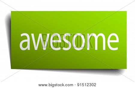 Awesome Green Paper Sign On White Background