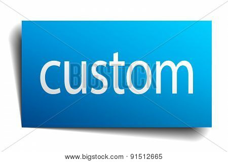 Custom Blue Square Isolated Paper Sign On White