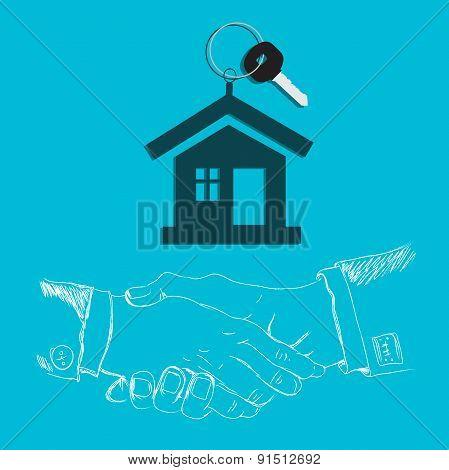 House, key, handshake, design