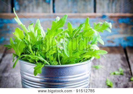 Fresh Organic Arugula In A Bucket