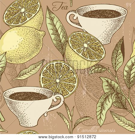 Vintage Tea And Lemon Seamless Background