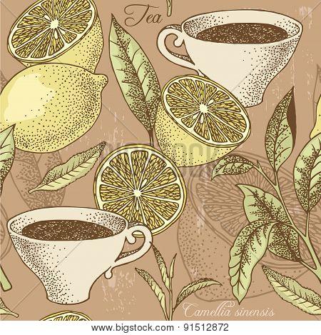 Vintage Tea And Lemon Seamless Background