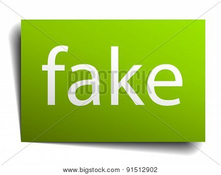 Fake Green Paper Sign Isolated On White