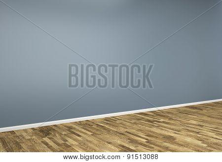 3D Blue  Empty Interior Wall