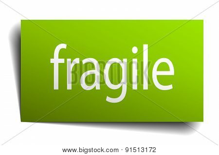 Fragile Green Paper Sign Isolated On White