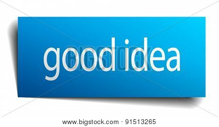 Good Idea Blue Paper Sign On White Background