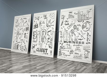 3D Drawing Business Concept On Posters