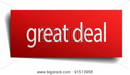 Great Deal Red Square Isolated Paper Sign On White
