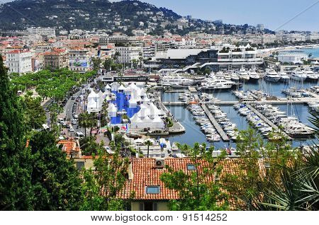 CANNES, FRANCE - MAY 14: Aerial view of the old harbor and the marina, full of luxury yachts, during the 68 edition of the Cannes Film Festival on May 14, 2015 in Cannes, France