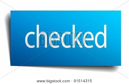 Checked Blue Paper Sign On White Background