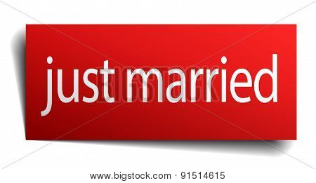 Just Married Red Square Isolated Paper Sign On White