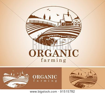 Vector design element with rural landscape.