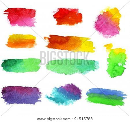 Abstract vector watercolor aquarelle hand drawn colorful shapes art paint splatter stain on white background