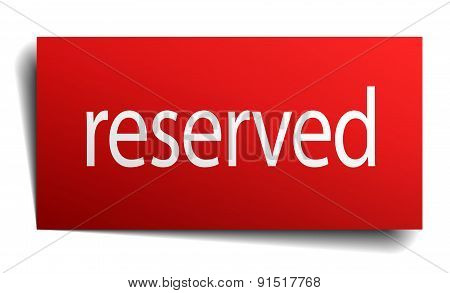 Reserved Red Paper Sign On White Background