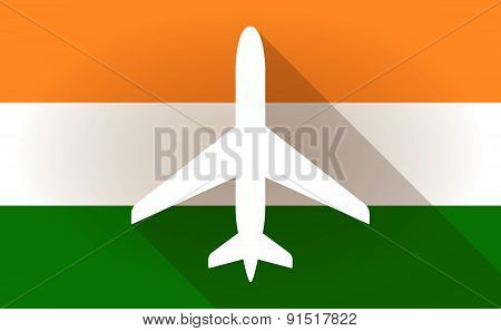 India Flag Icon With A Plane