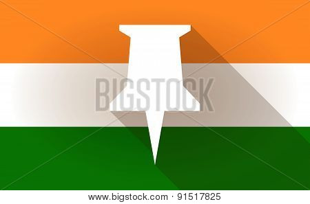 India Flag Icon With A Push Pin
