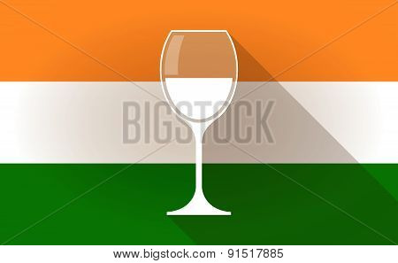 India Flag Icon With A Glass