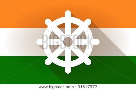 India Flag Icon With A Dharma Chakra Sign