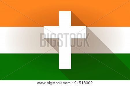 India Flag Icon With A Cross