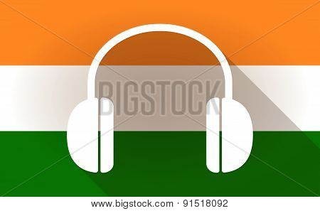 India Flag Icon With A Earplugs