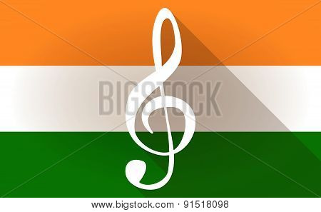 India Flag Icon With A G Clef