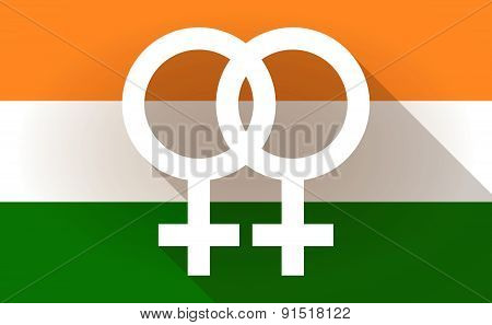 India Flag Icon With A Lesbian Sign
