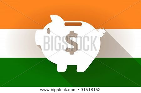 India Flag Icon With A Piggy Bank